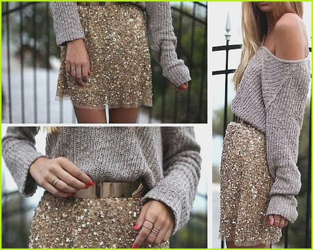 Gold Sequin Skirt Grey Sweater Outfit