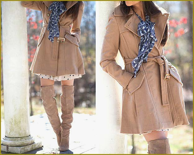 Camel Coat and Overknee Boots Outfit
