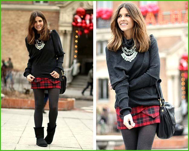 Plaid Skirt Ugg Boots Cute Winter Outfit
