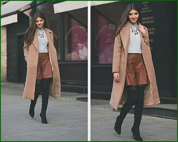 Leather Skort Crop Top Winter Outfit