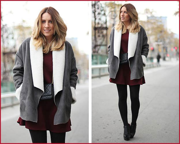 Burgundy Dress Winter Outfit