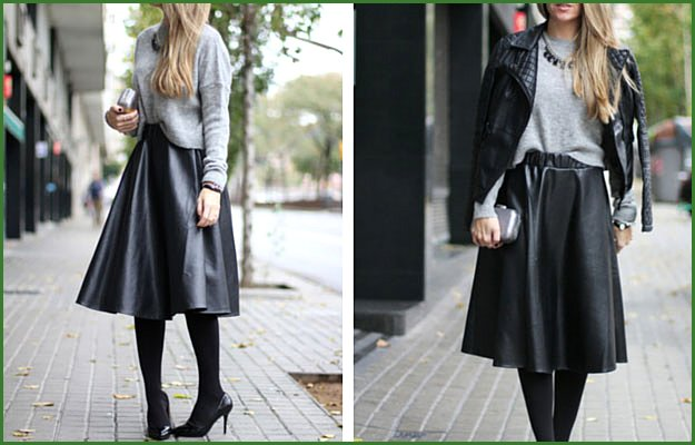 Leather Midi Skirt Winter Outfit