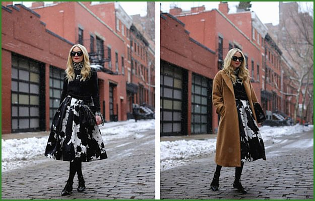 Black and White Midi Skirt Outfit