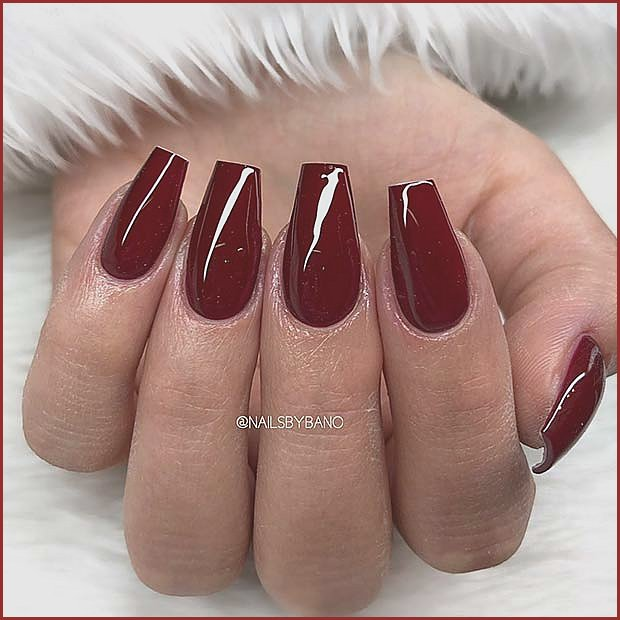 Dark Red Short Coffin Nails