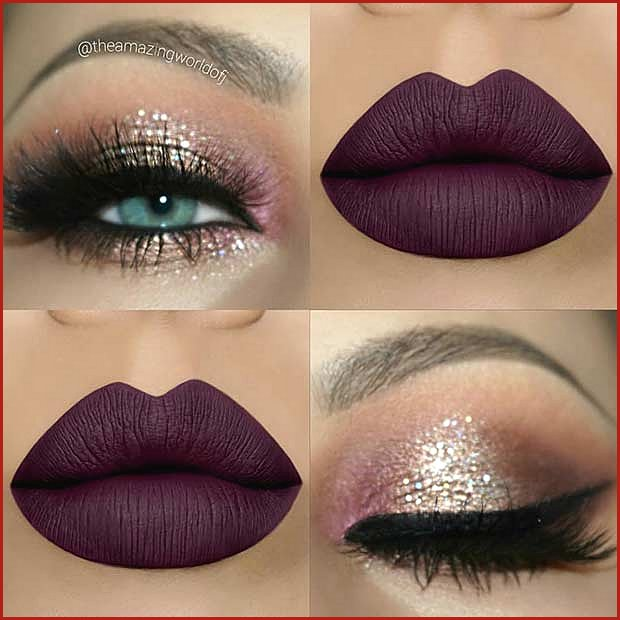 Shimmery Eyes and Bold Matte Lips