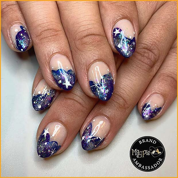 Nude Nails with Space Theme Tips