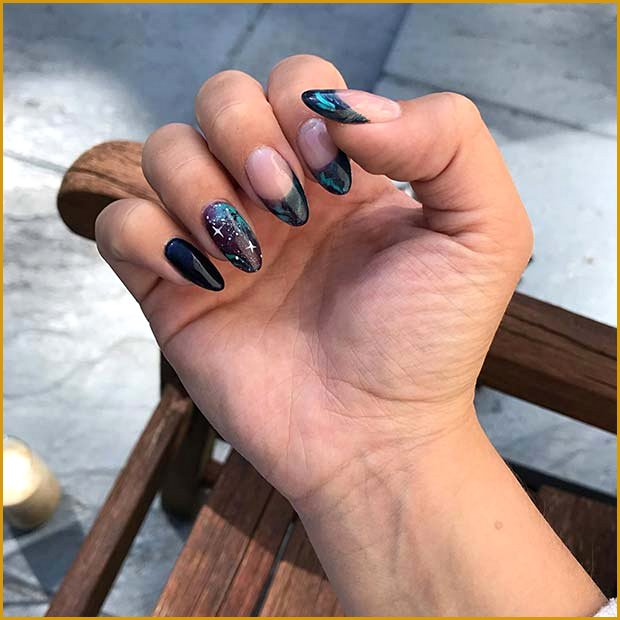 Almond Nails with Galaxy Tips