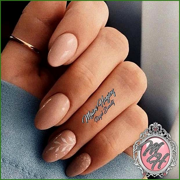 Nude Nails with White Leafy Nail Art