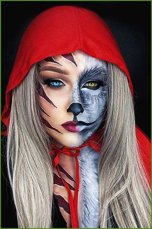 Half Face Red Riding Hood