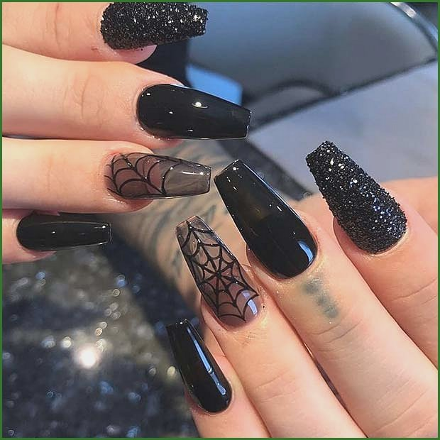 Sparkly Black Nails with Spider Webs