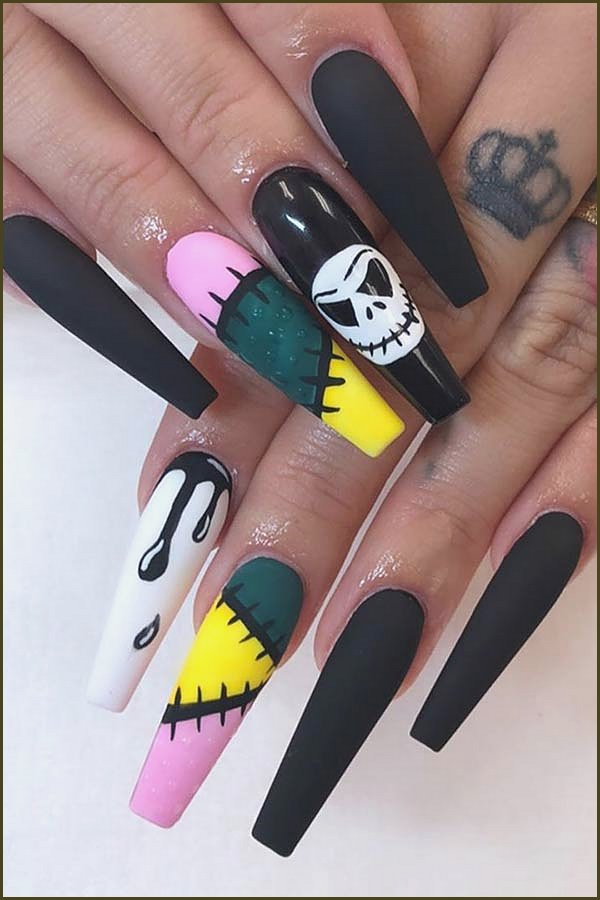 Jack and Sally Coffin Nails
