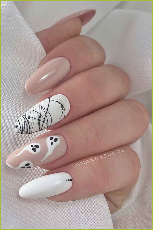 Cute Ghost Nail Design for Halloween