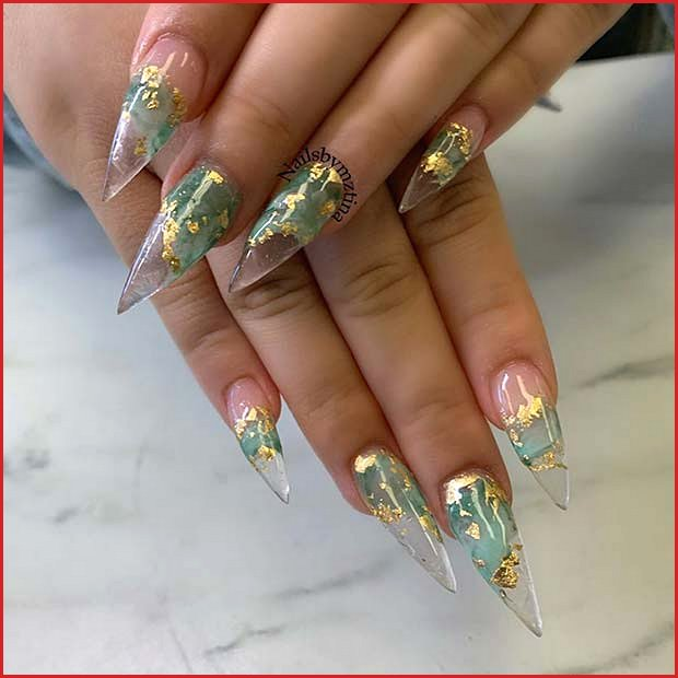 Clear Nails with Olive Color and Gold Foil