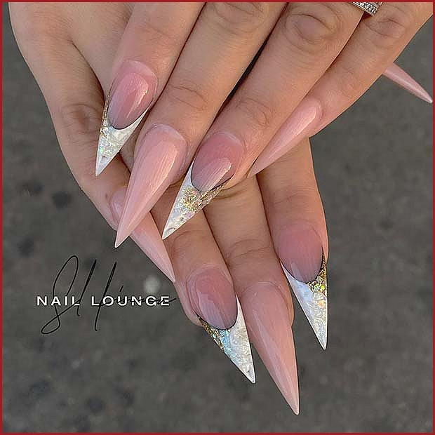 Nude Stiletto Nails with White Tips