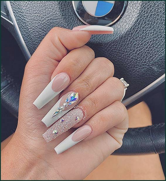 Long Coffin Nail Design with Rhinestones