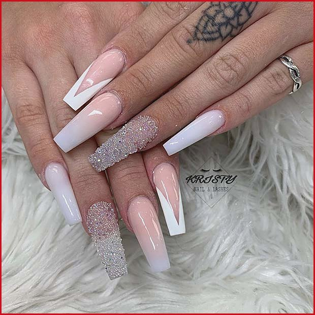 V Tips with Ombre and Glitter