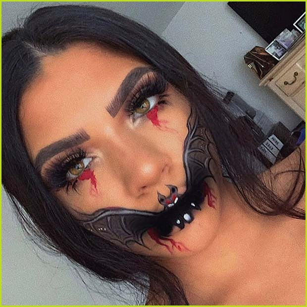 Creepy Halloween Bat Makeup