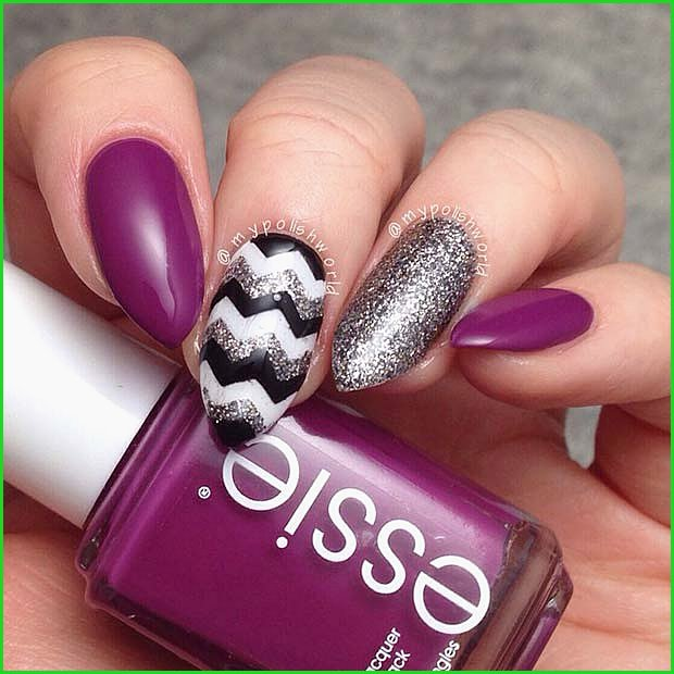 Purple Nails with Chevron Nail Art