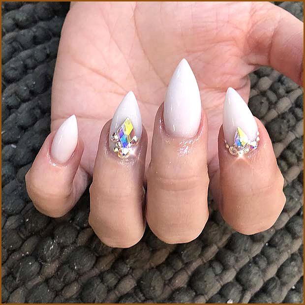 Short White Nails with Rhinestones