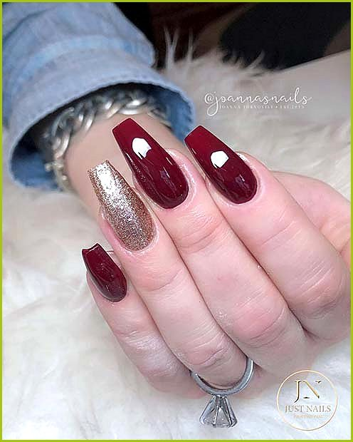 Maroon and Gold Glitter Nails