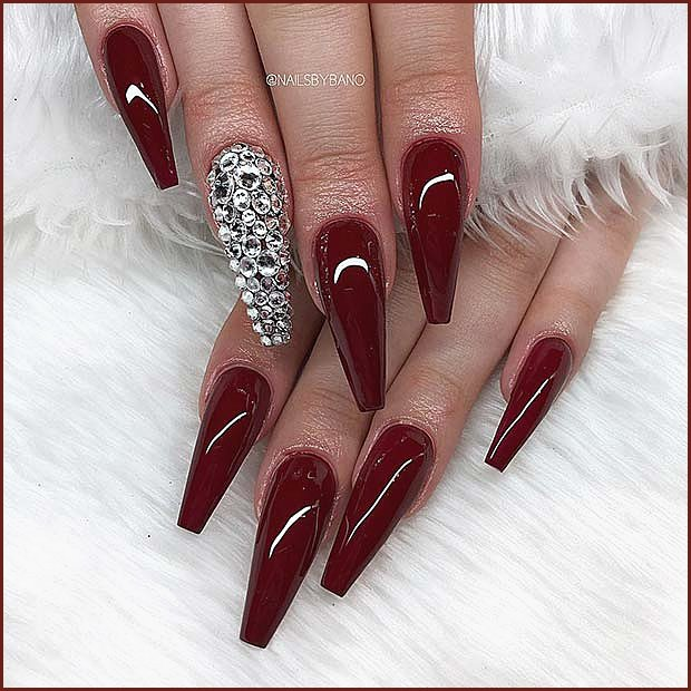 Maroon Coffin Nails with Rhinestones
