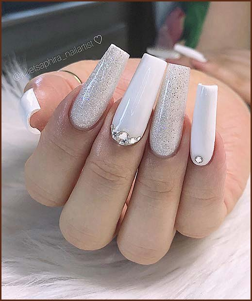Glam Nails with Glitter and Rhinestones