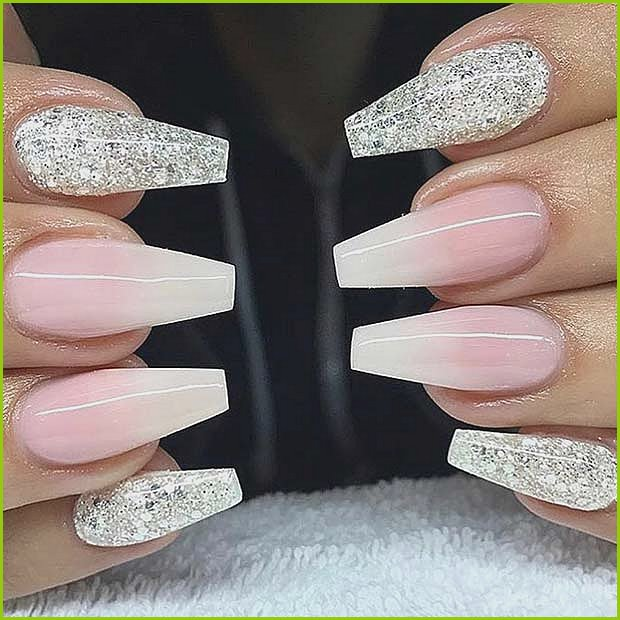 White Glitter and French Ombre Nails