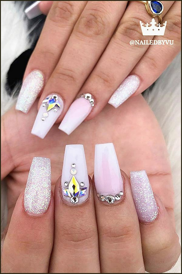 White Nail Design with Rhinestones