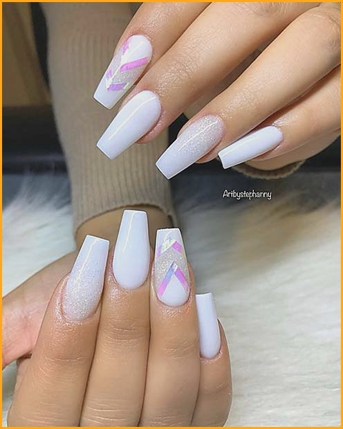 White Glitter and Chevron Nails