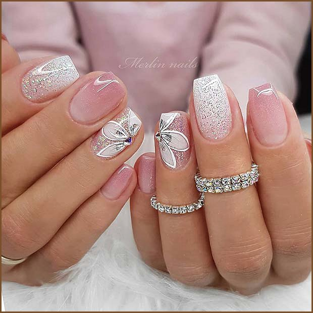 Pink and White Glitter Mani with Flowers
