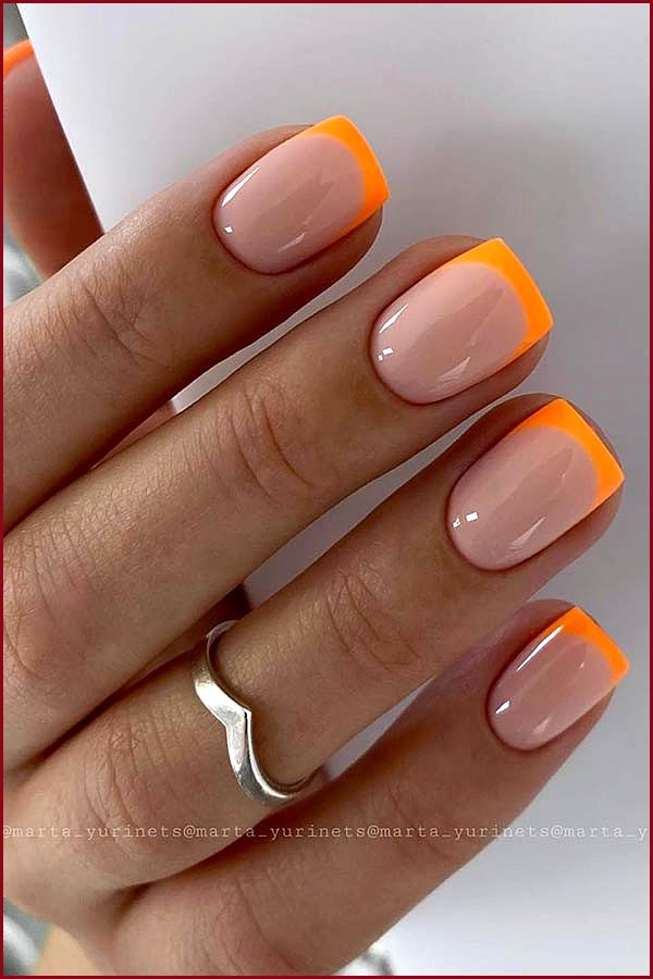 Nails with Neon Orange Tips