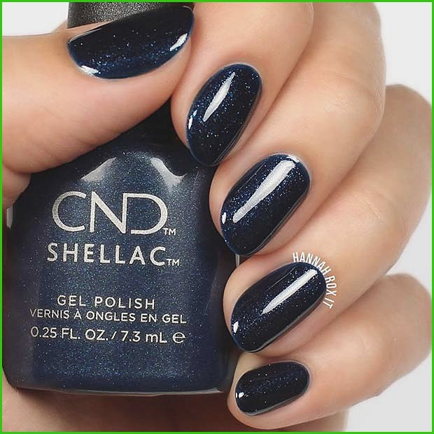 Navy Shellac Nails with Sparkle