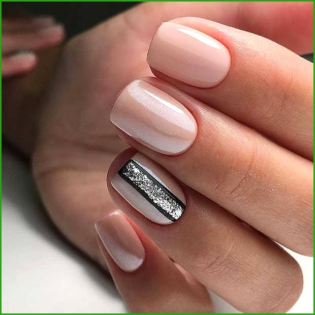 Nude Nails with Trendy Nail Art