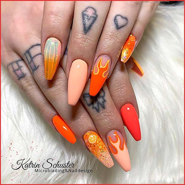Bright and Fun Nail Design with Flames