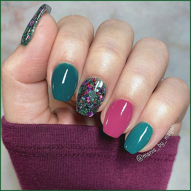 Bold and Sparkly Mani for Short Nails