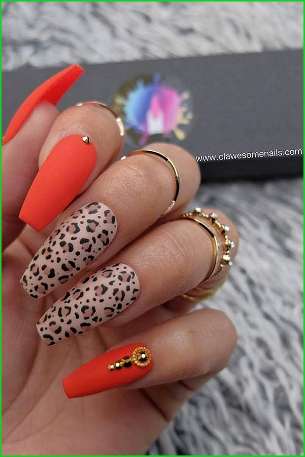 Red and Leopard Coffin Nails