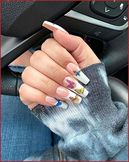 French Tip Nails with Butterflies