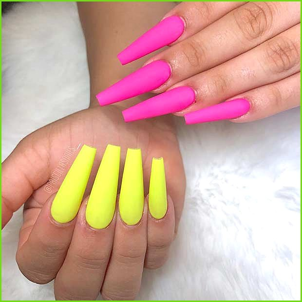 Neon Pink and Yellow Matte Nails