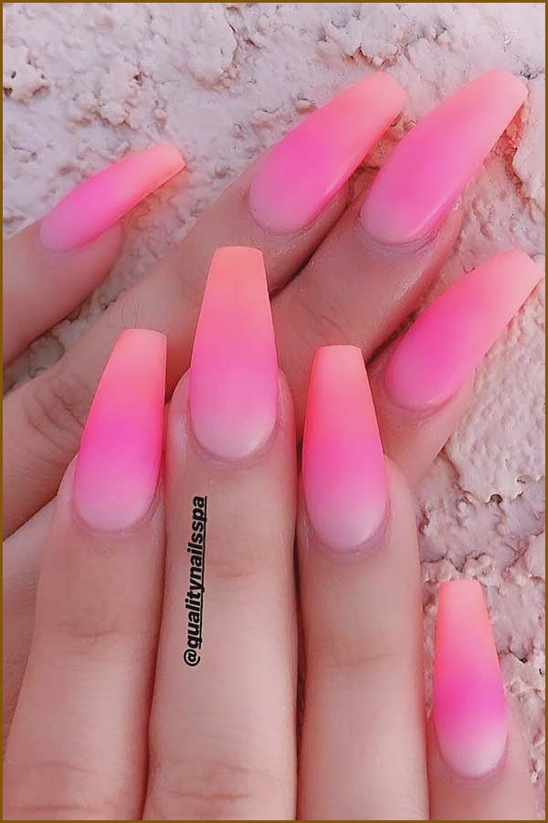 Pink and Orange Ombre Nails