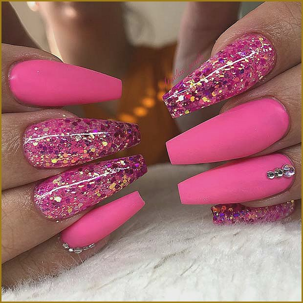 Matte and Glitter Neon Pink Coffin Nails