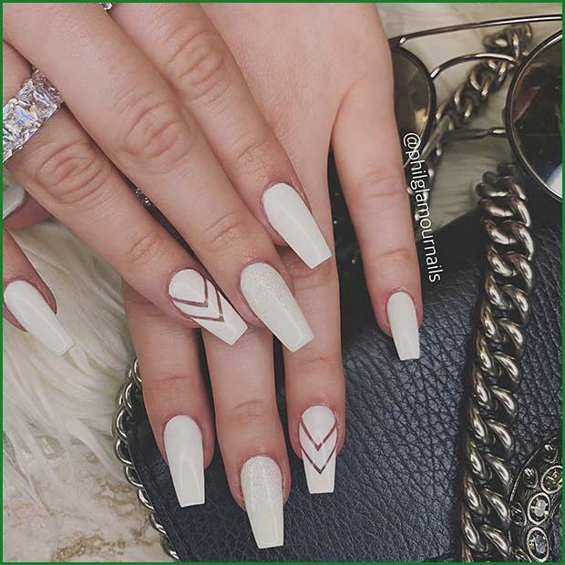 Chic White Chevron Nails