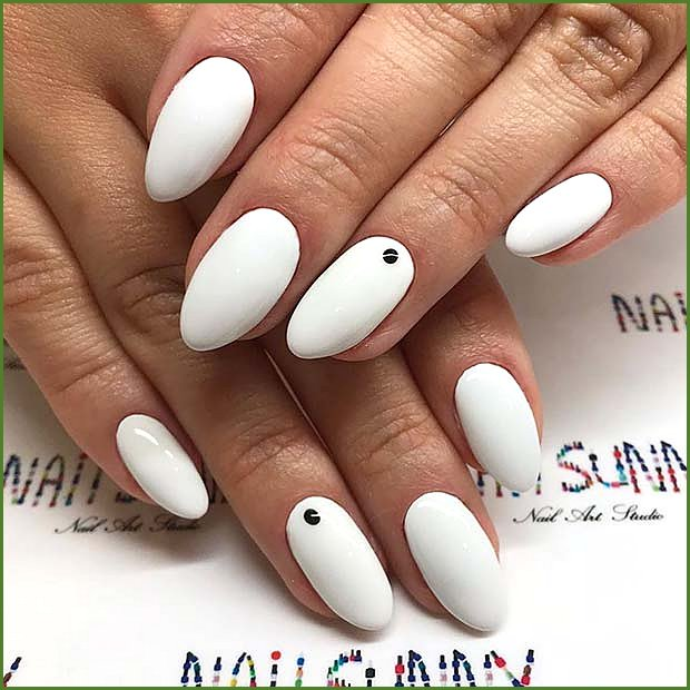 White Nails with Black Dots