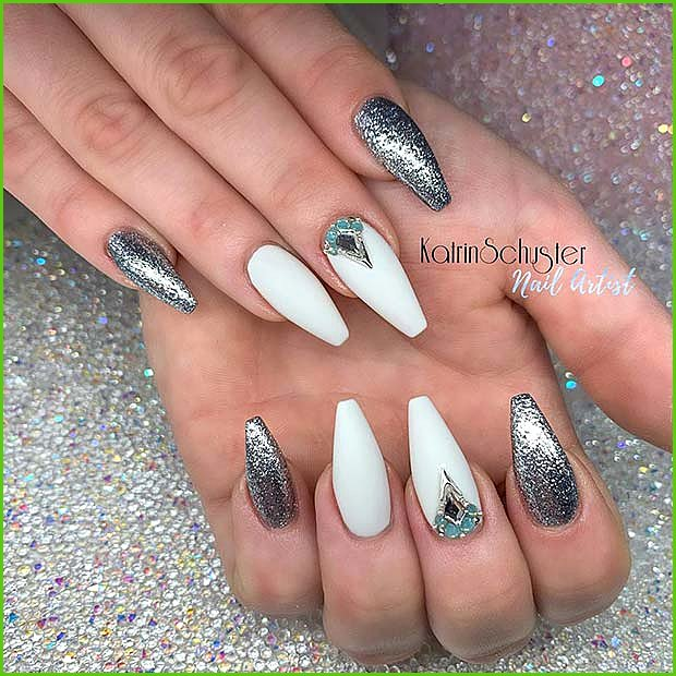 White and Silver Nail Design