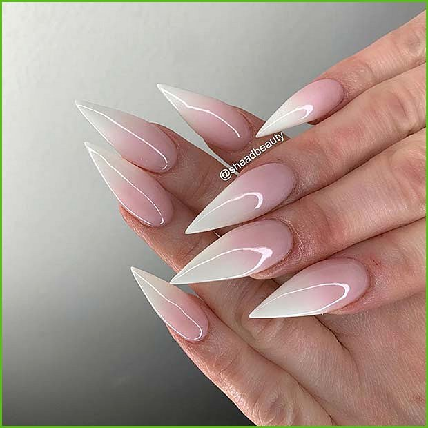 French Ombre Stiletto Nails