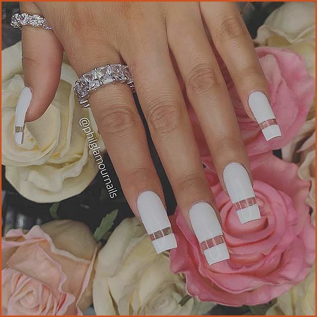 White and Clear Nails
