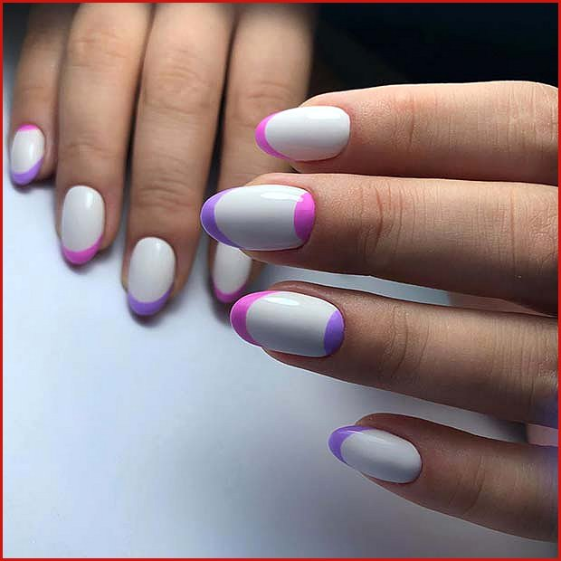 White, Pink and Purple Nails