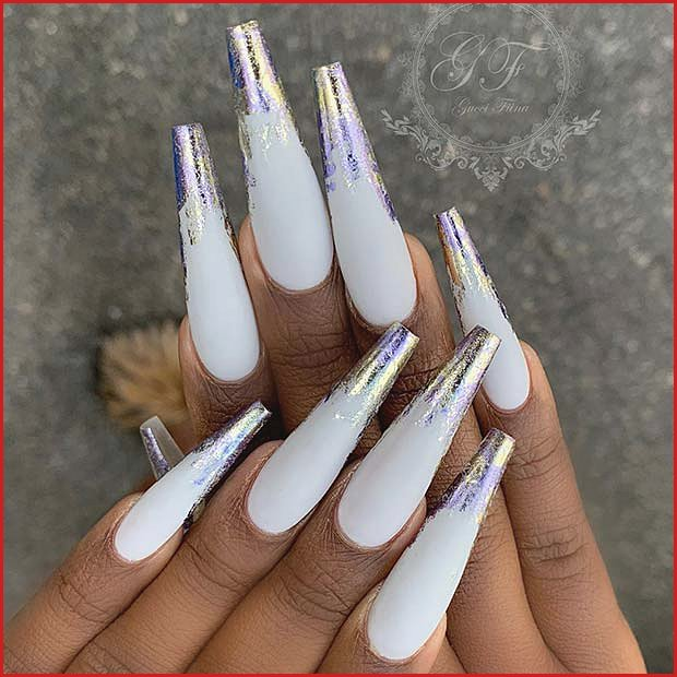 White Nails with Colorful Foils