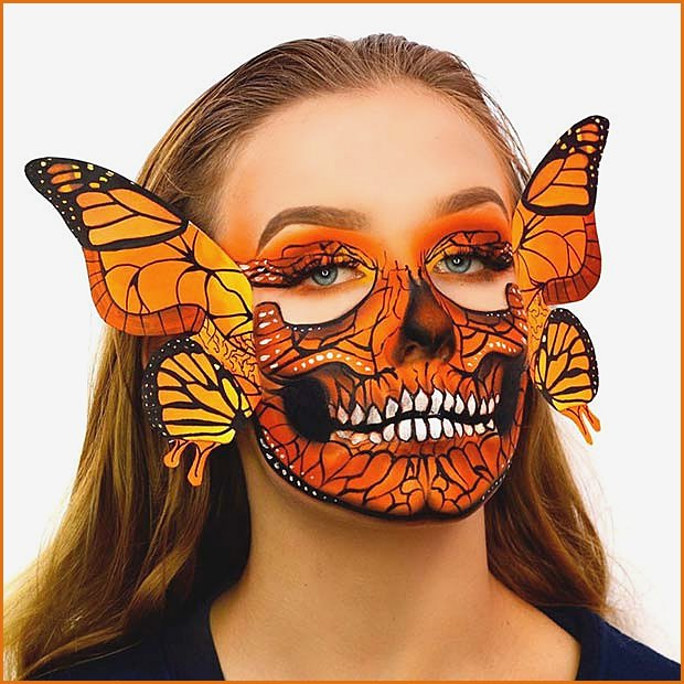 Butterfly Skull Illusion Makeup with Wings