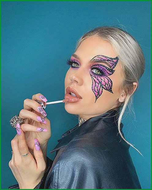 Pretty Butterfly Eye Makeup for Halloween