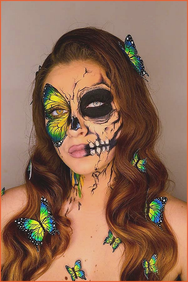 Butterfly Skull Makeup Look for Halloween